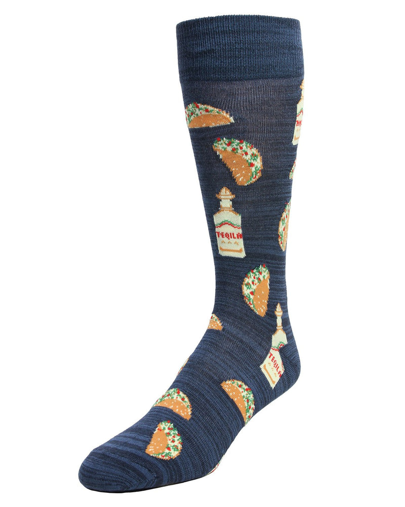 Taco Tuesday Socks | MeMoi Mens Novelty Sock Collection | #SockGame fun socks for men | Navy Blazer MMF 000007