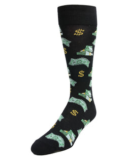 MeMoi Money Bags Cash Print Socks | Men's Fun Crazy  Novelty Socks | #sockgame | Black MMF-000008