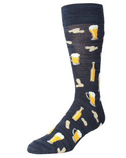 MeMoi Happy Hour Beer and Peanuts Socks | Men's Fun Crazy Novelty Socks | Sock Game | Navy Blazer MMF-000009