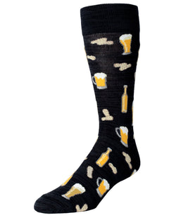 MeMoi Happy Hour Beer and Peanuts Socks | Men's Fun Crazy Novelty Socks | Sock Game fun socks for men | Black MMF-000009