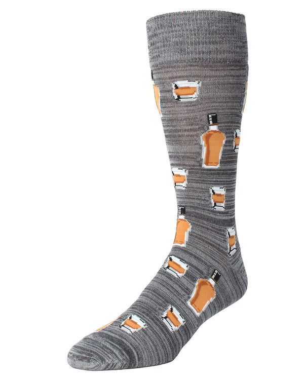 MeMoi Whiskey Bar Conversational Socks | Men's Fun Crazy  Novelty Socks | #SockGame fun socks for men | Asphalt MMF-000010