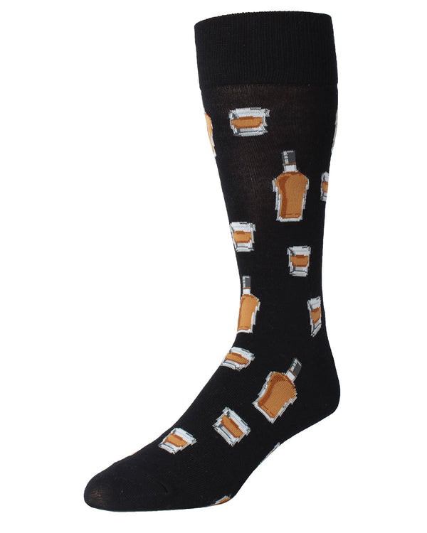 MeMoi Whiskey Bar Conversational Socks | Men's Fun Crazy  Novelty Socks | #SockGame fun socks for men | Black MMF-000010