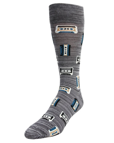 MeMoi Mixtape Cassette Socks | Men's Fun Crazy DJ HipHop R&B Novelty Socks | Sock Game | Asphalt MMF-000016