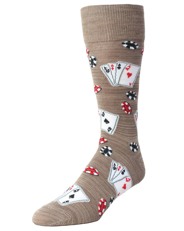 MeMoi Poker Face Playing Card Socks | Men's Fun Crazy  Novelty Socks | #SockGame fun socks for men | Crockery MMF-000017