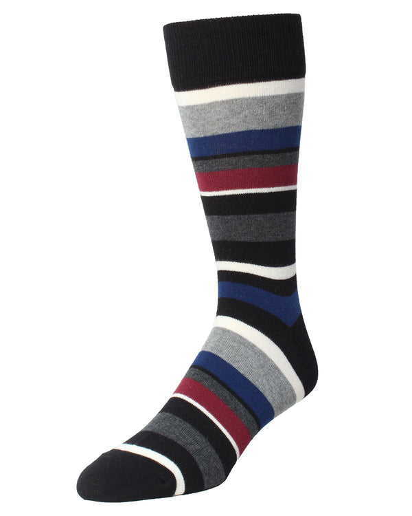 James Striped Sock | MeMoi Men's Dress Crew Socks | Sock Game | Black MMF-000019