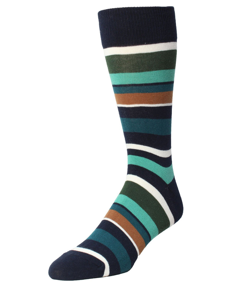 James Striped Sock | MeMoi Men's Dress Crew Socks | Sock Game | Navy Blaze MMF-000019