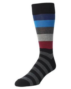 Asher Striped Socks | MeMoi Men's Dress Crew Socks | Sock Game | Black MMF 000020