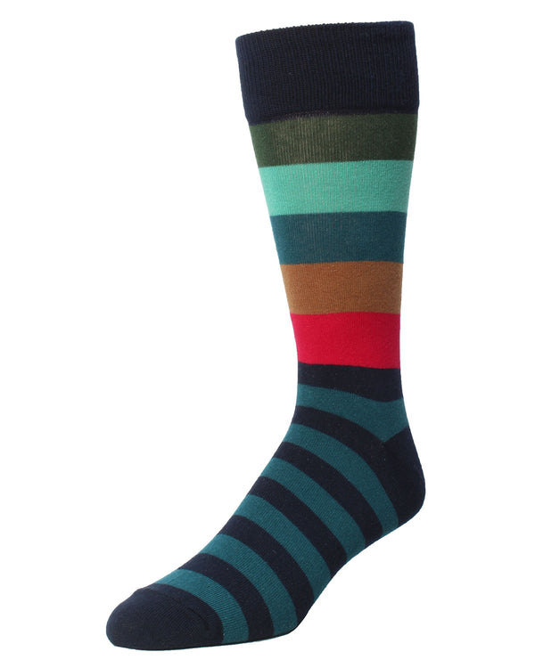 Asher Striped Socks | MeMoi Men's Dress Crew Socks | Sock Game | Navy Blazer MMF 000020