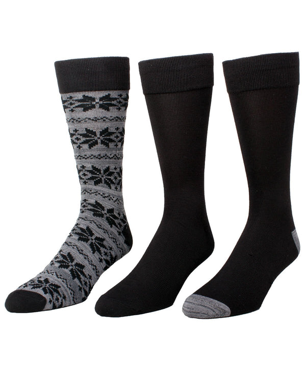AC Snowflake Assorted 3-Pack Crew Sock | MeMoi Men's Dress Crew Socks | Sock Game | Black MMP-000021