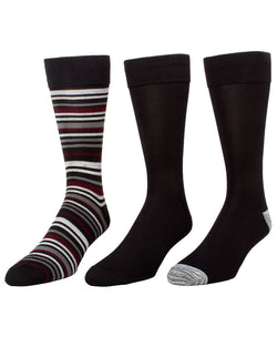 Shaya Thin Stripe Assorted 3Pk Men's Crew Sock | MeMoi Men's Dress Crew Socks | Sock Game | Black MMP-000022