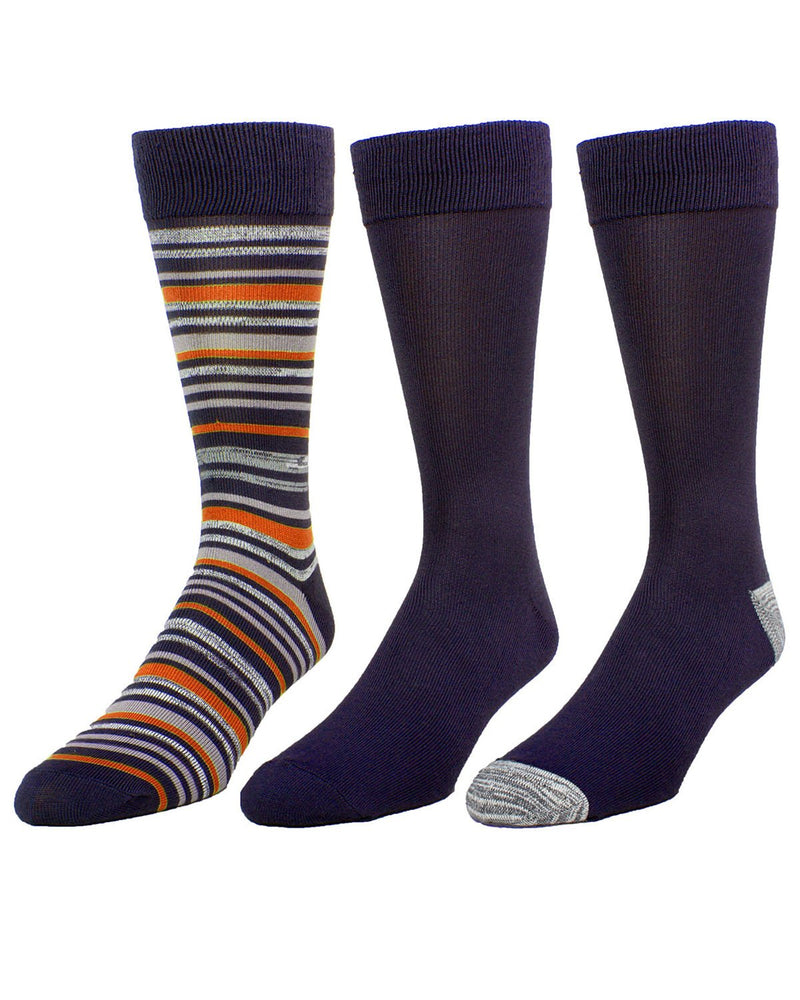 Shaya Thin Stripe Assorted 3Pk Men's Crew Sock | MeMoi Men's Dress Crew Socks | Sock Game | Port Royale MMP-000022