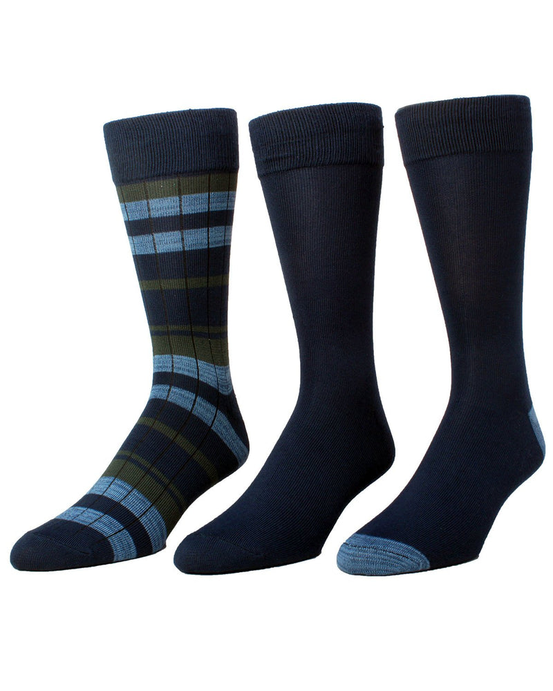 Toni Retro Stripe Assorted 3Pk Crew Socks | MeMoi Men's Dress Crew Socks | Sock Game |  Navy Blazer MMP-000023