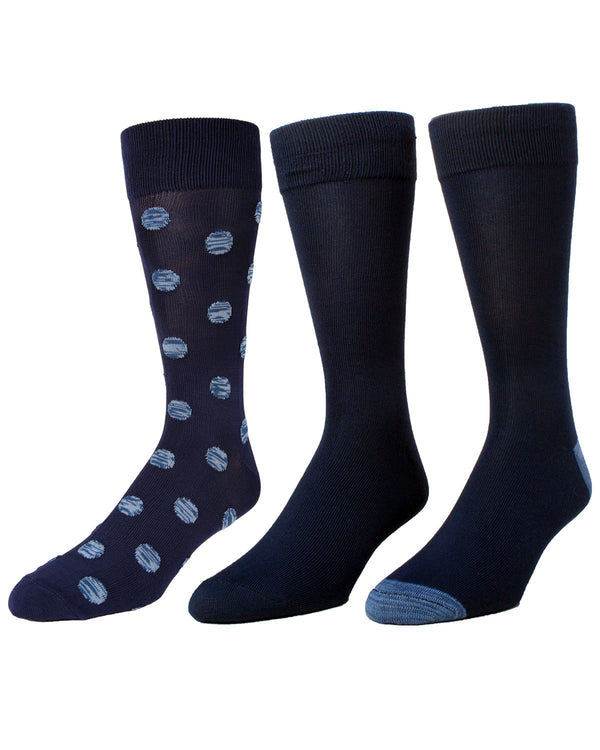 Beck Assorted 3Pk Crew Socks | MeMoi Men's Dress Crew Socks | Sock Game |  Navy Blazer MMP-000024
