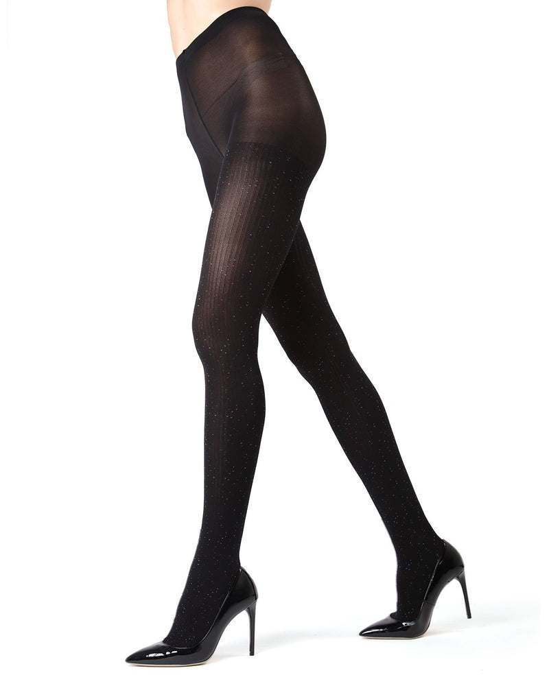 MeMoi Black Speckled Fashion Tights | Women's Opaque Hosiery - Pantyhose - Legwear