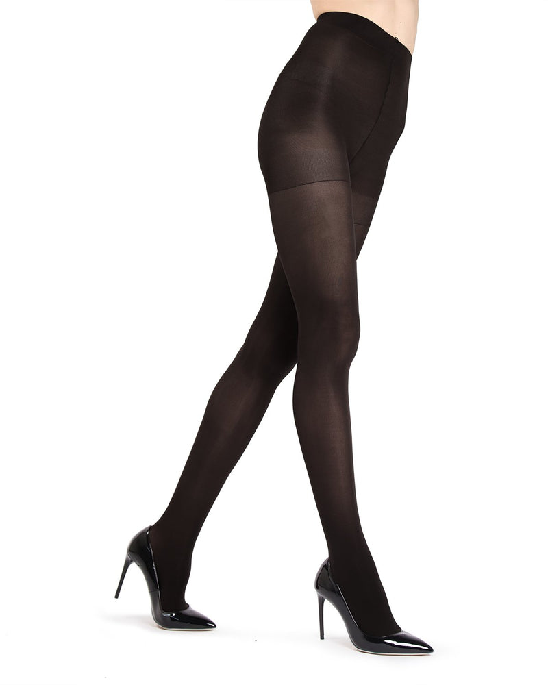 MeMoi Black Gloss Opaque Tights | Women's Tights - Hosiery - Pantyhose