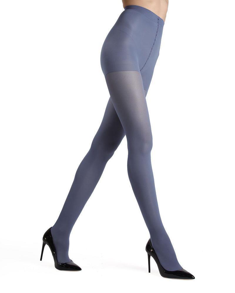 MeMoi Blue Smoke Gloss Opaque Tights | Women's Tights - Hosiery - Pantyhose
