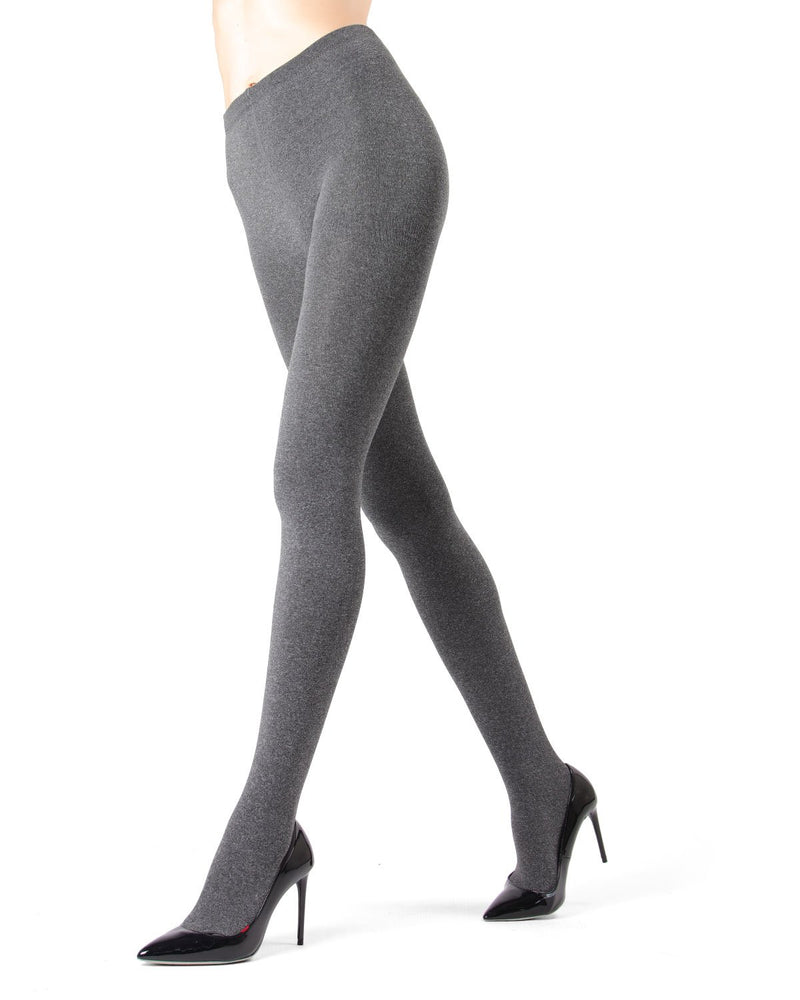 Memoi Black Heather Plush Lined Fleece Tights | Women's Hosiery - Pantyhose - Nylons