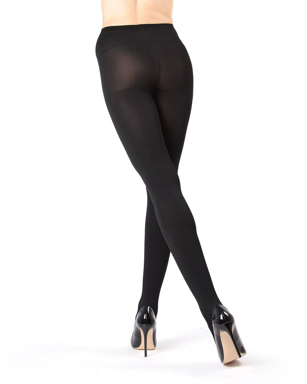 Memoi Black Ribbed Plush Lined Fleece Tights | Women's Hosiery - Pantyhose - Nylons