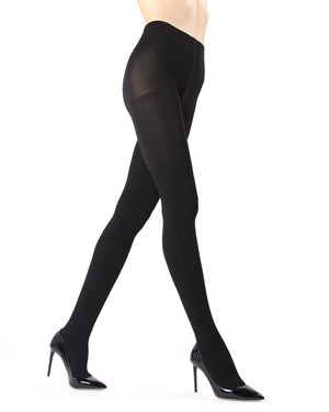 Memoi Black (2) Ribbed Plush Lined Fleece Tights | Women's Hosiery - Pantyhose - Nylons