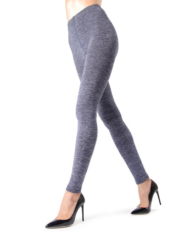 Memoi Denim Spacedye Plush Lined Tights | Women's Hosiery - Pantyhose - Nylons