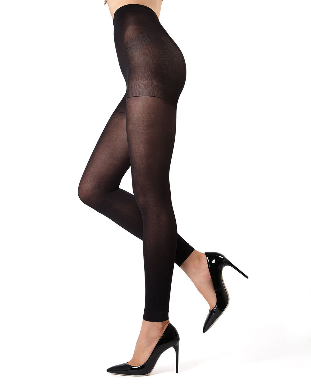 MeMoi | Black Perfectly Opaque Control Top Tights | Women's Tights - Pantyhose