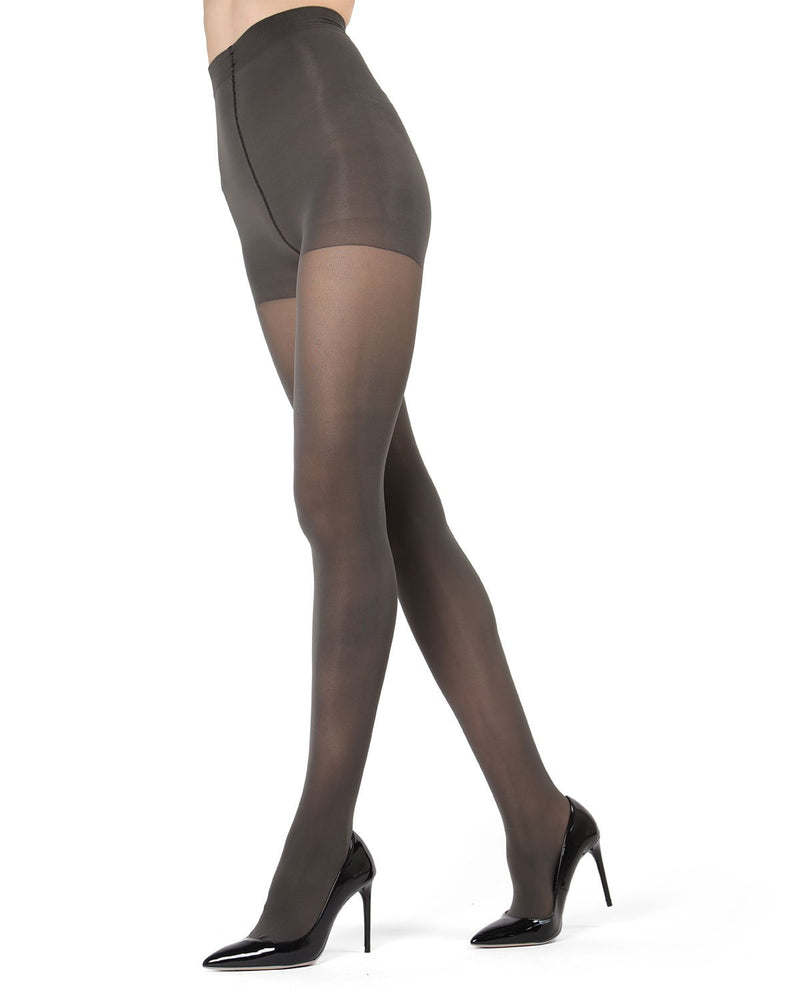MeMoi | Charcoal Perfectly Opaque Control Top Tights | Women's Tights - Pantyhose