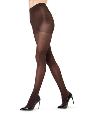 MeMoi | Dark Chocolate Perfectly Opaque Control Top Tights | Women's Tights - Pantyhose