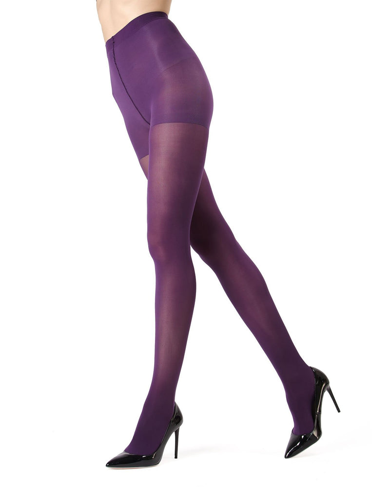 MeMoi | Blackberry Cordial Perfectly Opaque Control Top Tights | Women's Tights - Pantyhose