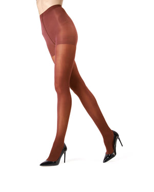 MeMoi | Burnt Ochre Perfectly Opaque Control Top Tights | Women's Tights - Pantyhose