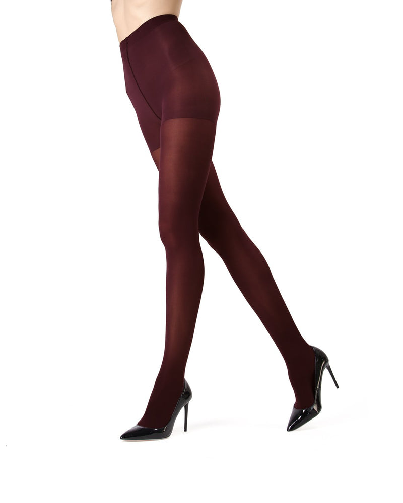MeMoi | Cabernet Perfectly Opaque Control Top Tights | Women's Tights - Pantyhose