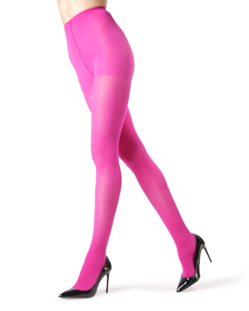 MeMoi | Fuchsia Perfectly Opaque Control Top Tights | Women's Tights - Pantyhose