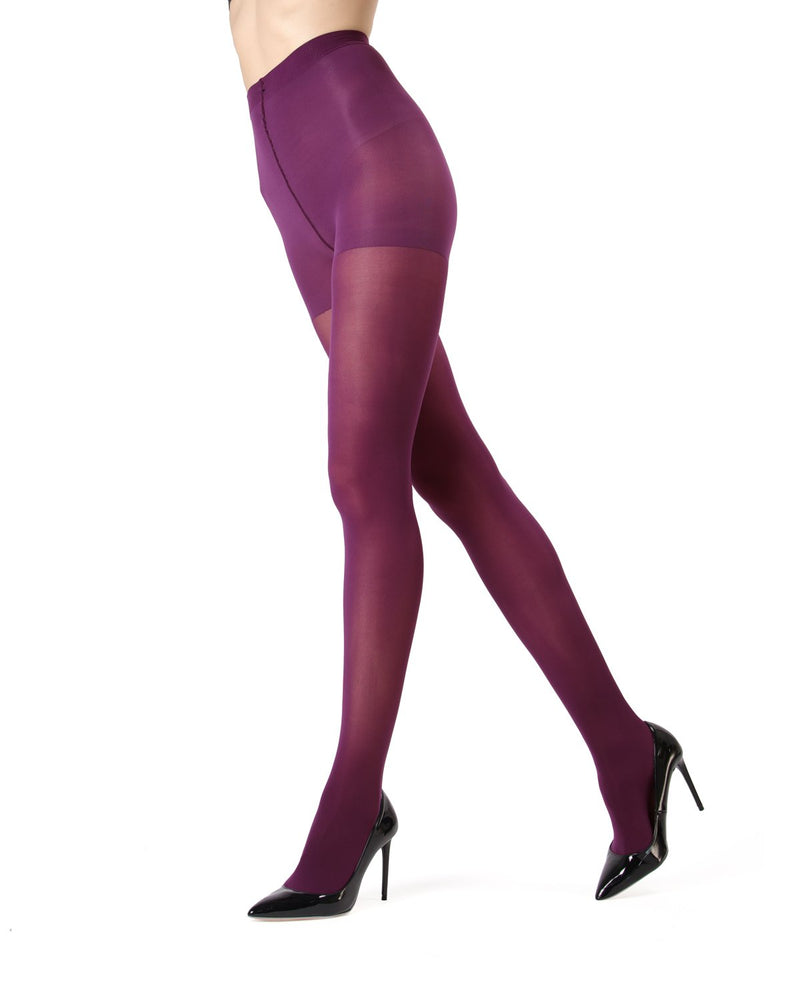 MeMoi | Magenta Purple Perfectly Opaque Control Top Tights | Women's Tights - Pantyhose