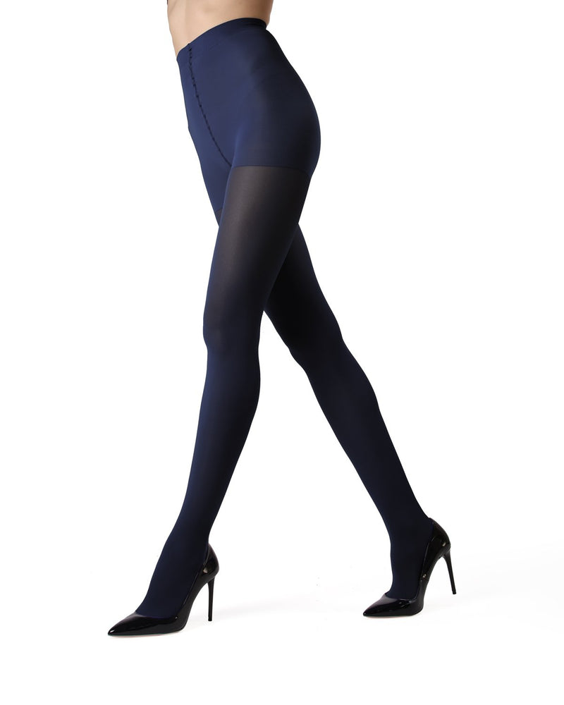 MeMoi | Evening Blue Perfectly Opaque Control Top Tights | Women's Tights - Pantyhose