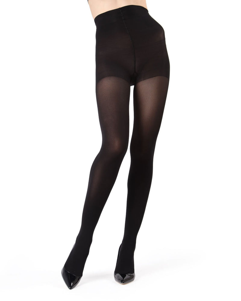 MeMoi Black Velvet Touch Control Top Tights | Women's Tights - Hosiery - Pantyhose