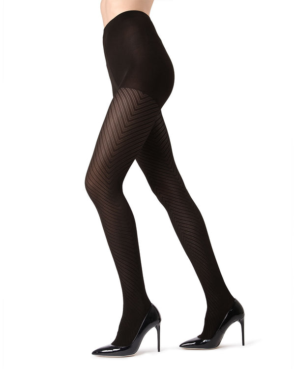 MeMoi Black Chevron Tights | Women's Pantyhose - Hosiery