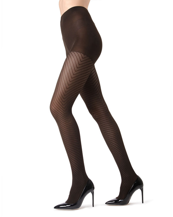 MeMoi Dark Chocolate Chevron Tights | Women's Pantyhose - Hosiery