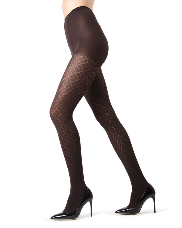 MeMoi | Dark Chocolate Diamond Argyle Tights | MeMoi Women's Tights - Hosiery
