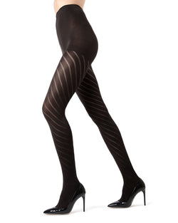 MeMoi | Black Spiral Opaque Tights | MeMoi Women's Pantyhose - Hosiery