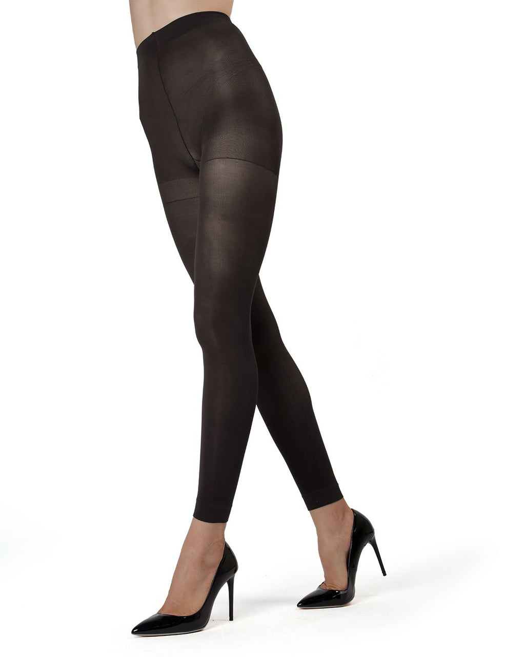 MeMoi | Black Control Top Footless Tights | Women's Tights - Hosiery - Pantyhose