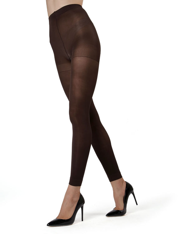 MeMoi | Black Control Top Footless Tights | Women's Tights - Hosiery - Pantyhose | womens clothing MO-321-Drc-133 dark chocolate