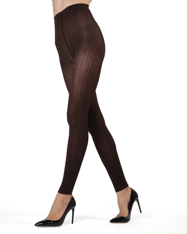MeMoi Dark Chocolate Textured Footless Tights | Women's Tights - Hosiery - Pantyhose