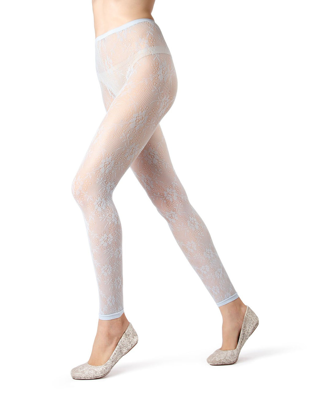 MeMoi Baby Blue Romantic Lace Footless Tights | Women's Tights - Hosiery - Pantyhose