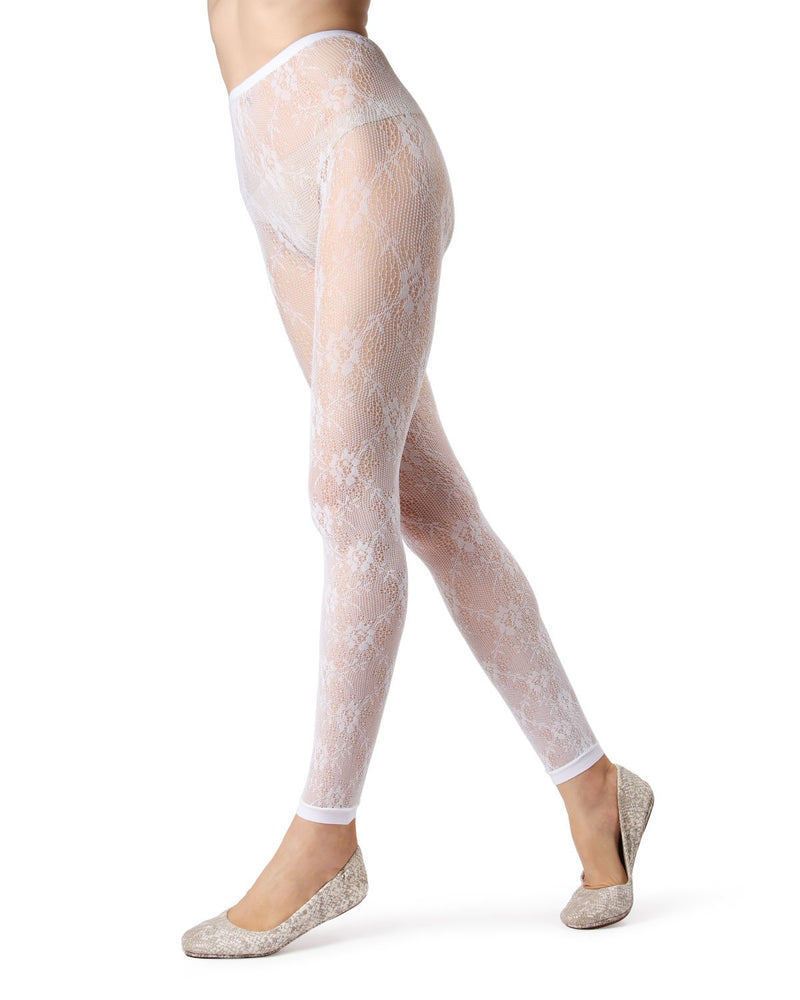 MeMoi White Romantic Lace Footless Tights | Women's Tights - Hosiery - Pantyhose