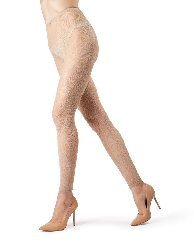 MeMoi Nude Romantic Lace Footless Tights | Women's Tights - Hosiery - Pantyhose