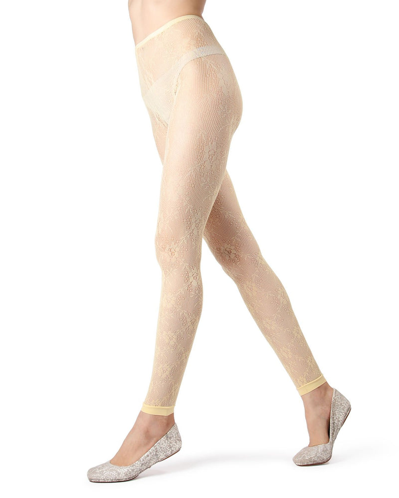 MeMoi Pale Yellow Romantic Lace Footless Tights | Women's Tights - Hosiery - Pantyhose