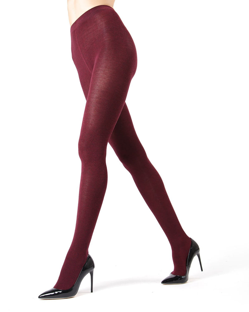 MeMoi Brooklyn Flat Knit Sweater Tights | Women's Luxury Cotton Sweater tights | Hosiery - Pantyhose - Nylons  |  Burgundy Heather MO-325