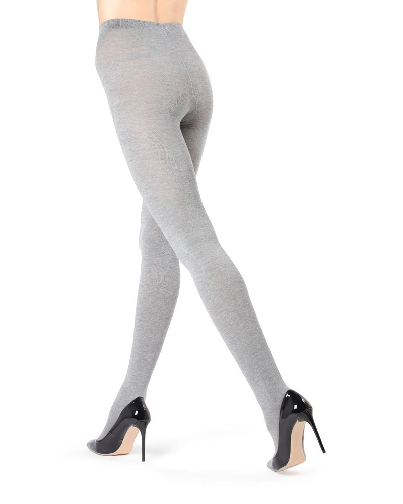 MeMoi Brooklyn Flat Knit Sweater Tights | Women's Luxury Cotton Sweater tights | Hosiery - Pantyhose - Nylons  | Medium Grey Heather (2) MO-325