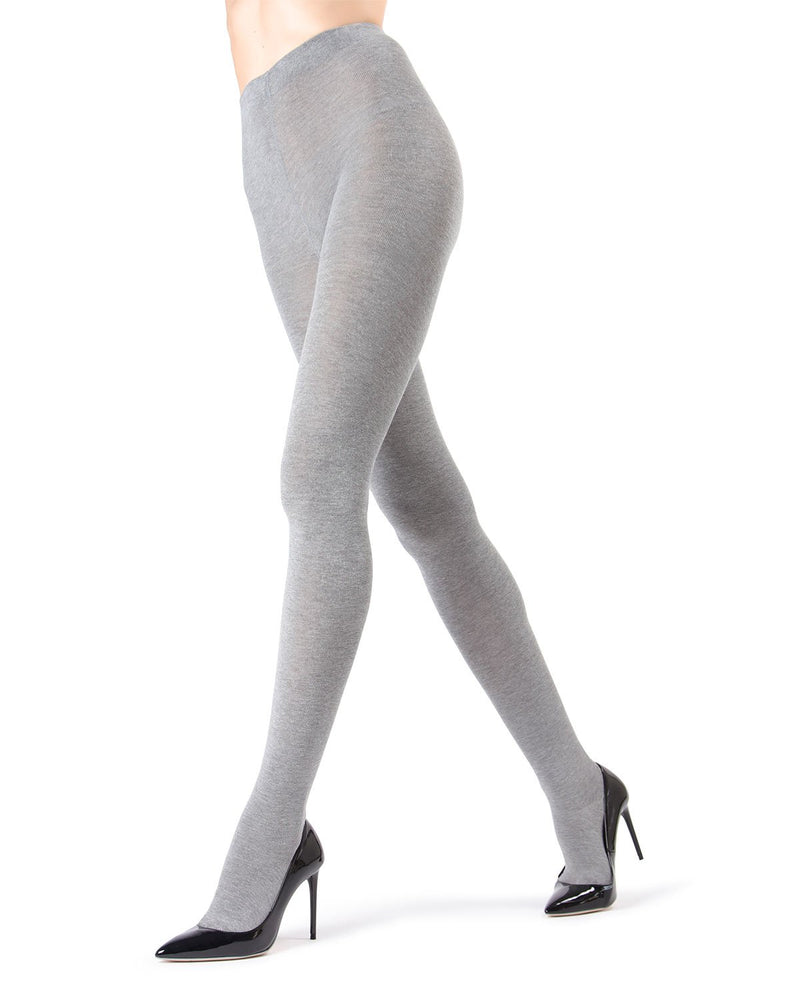 MeMoi Brooklyn Flat Knit Sweater Tights | Women's Luxury Cotton Sweater tights | Hosiery - Pantyhose - Nylons  | Medium Grey Heather MO-325