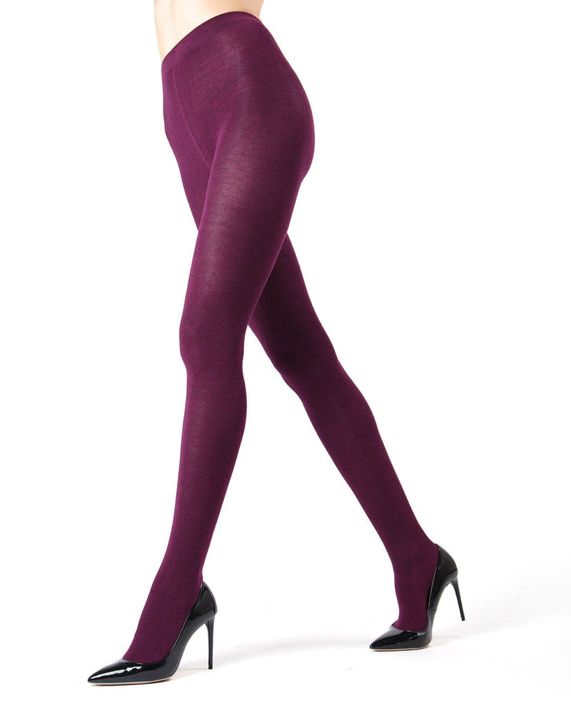 MeMoi Brooklyn Flat Knit Sweater Tights | Women's Luxury Cotton Sweater tights | Hosiery - Pantyhose - Nylons  | Purple Pennant MO-325
