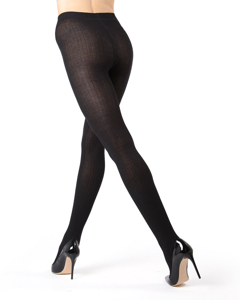 MeMoi Black (2) Boston Ribbed Sweater Tights | Women's Winter / Autumn Hosiery - Pantyhose - Nylons